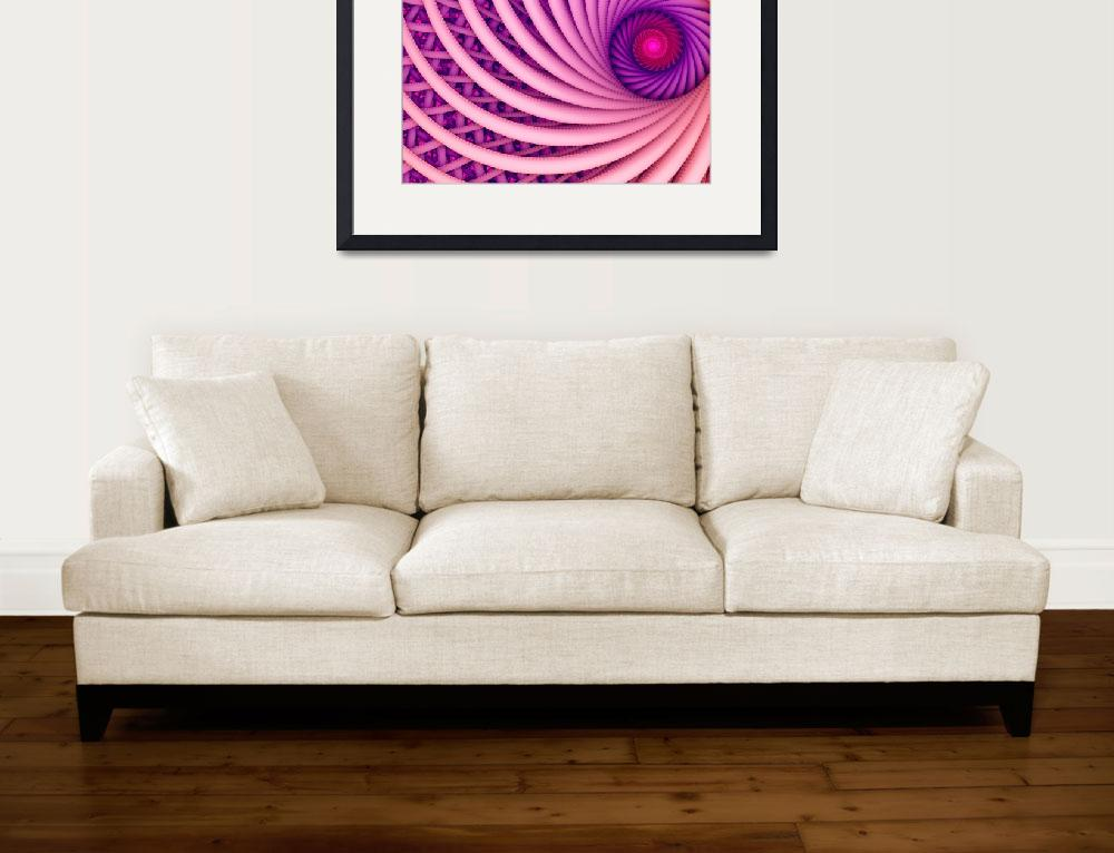 """Abstract fantasy swirl tunnel with pink and purple&quot  (2016) by oksaprint"