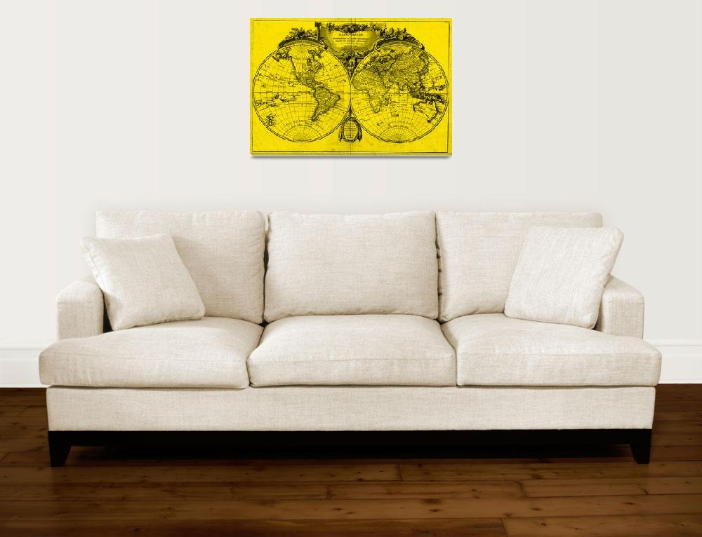 """World Map (1775) Yellow & Black&quot  by Alleycatshirts"