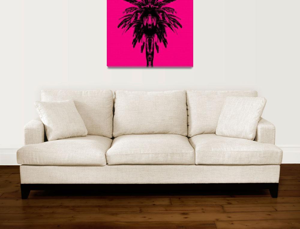 """Palm Tree - Pink Sky""  (2015) by e_morningstar"