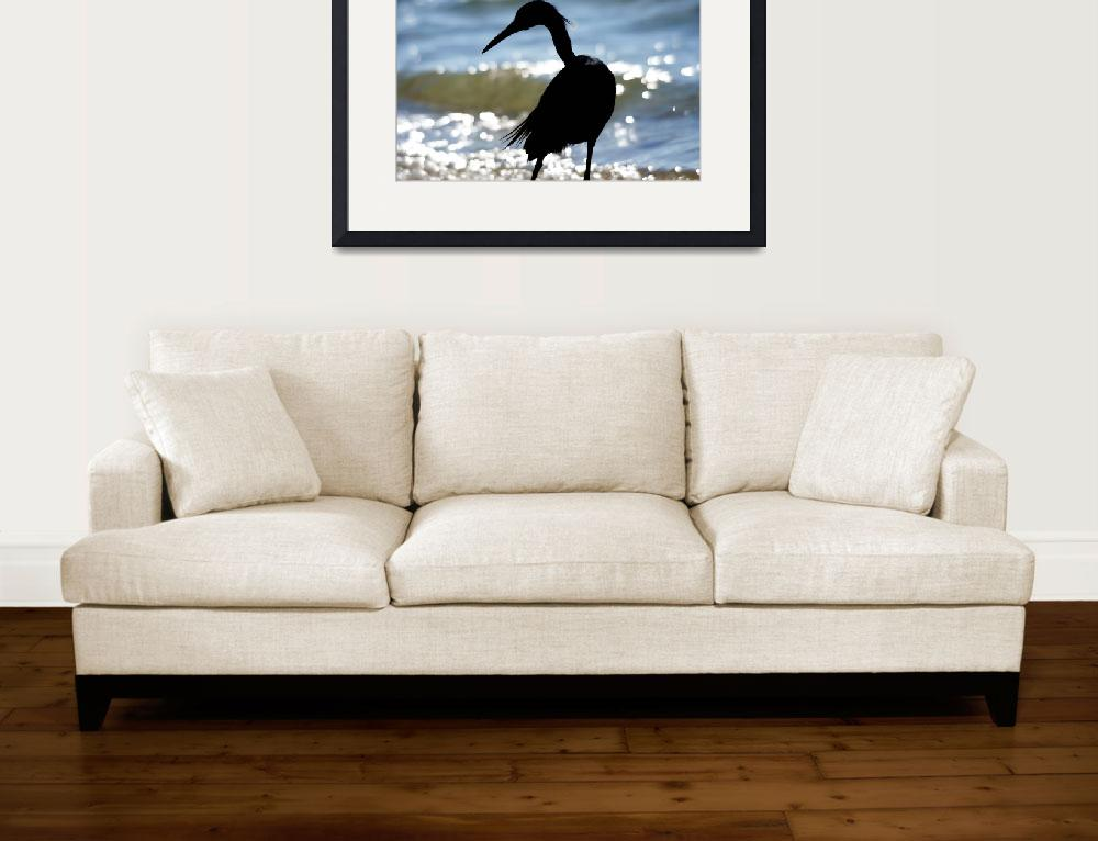 """""""Blue Heron and Surf&quot  (2008) by Bonniejoyanderson"""