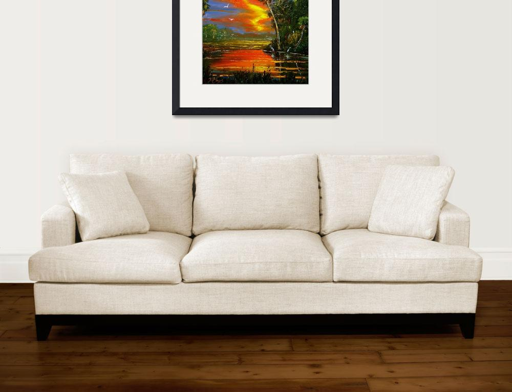 """Fire Sky over the Country Pond&quot  (2009) by mazz"