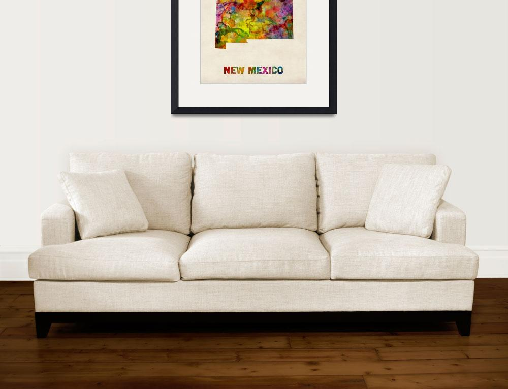 """""""New Mexico Watercolor Map&quot  (2013) by ModernArtPrints"""