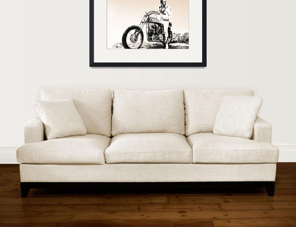"""Evel Knievel Painting Sepia""  by RubinoFineArt"