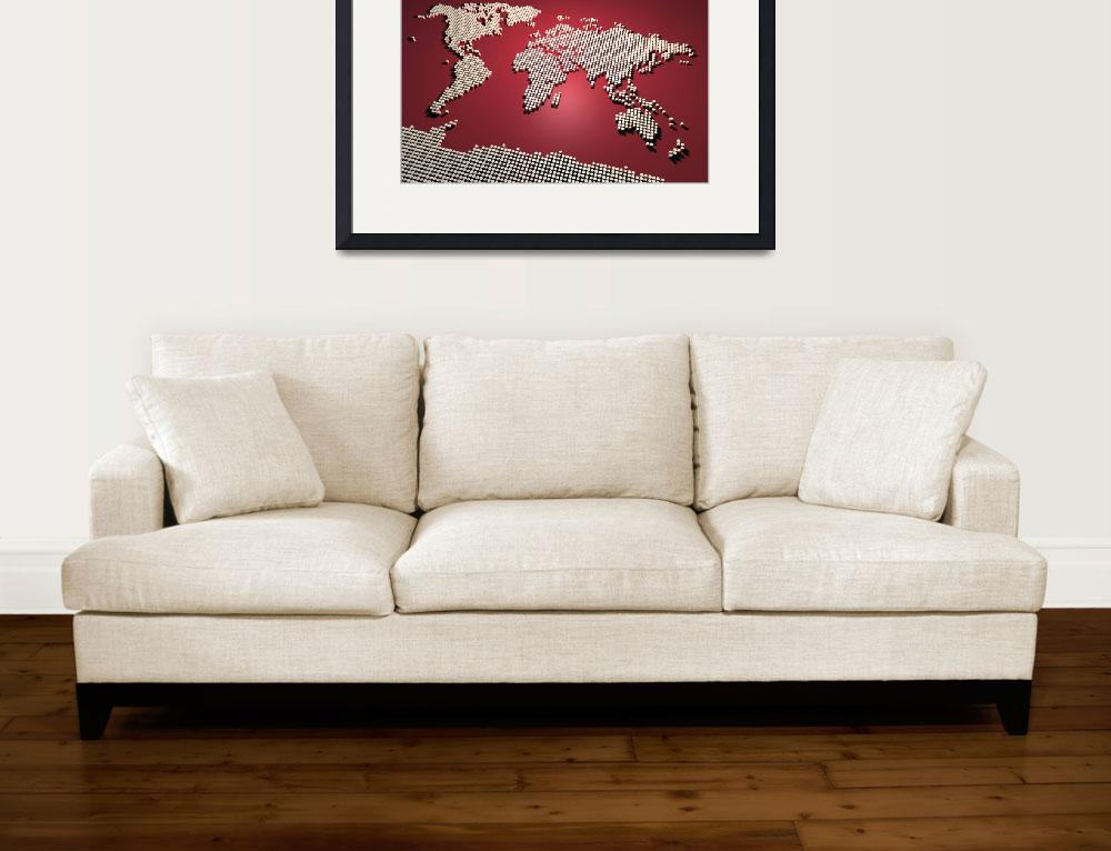 """""""World Map in Red&quot  (2011) by ModernArtPrints"""