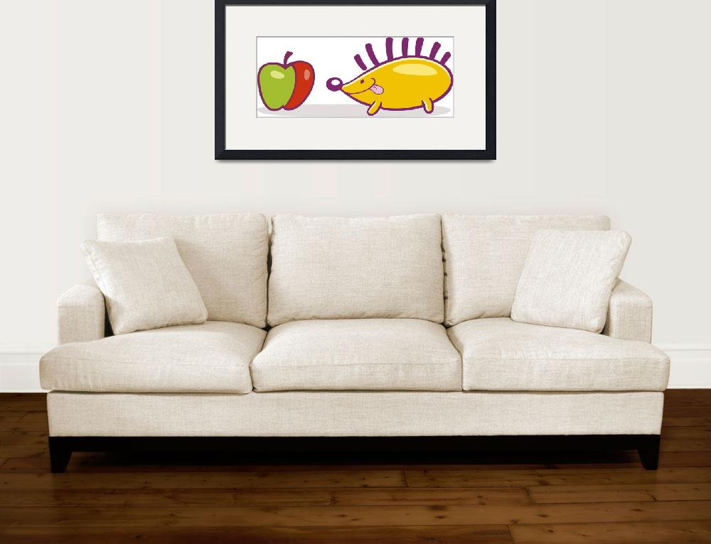 """hedgehog with apple&quot  (2010) by cartoonfactory"