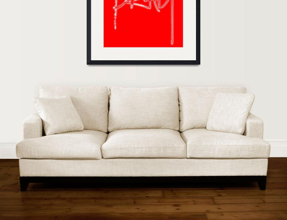 """""""pray glow white on red&quot  by lizmix"""