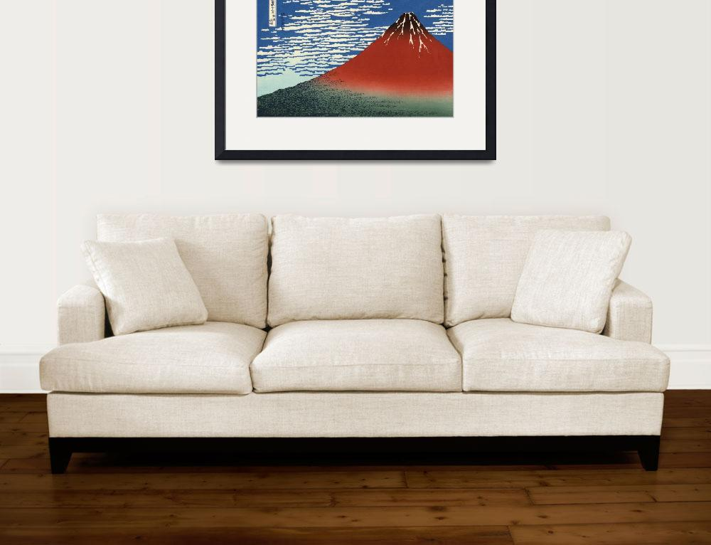 """""""Red Fuji Southern Wind Clear Morning&quot  by ArtLoversOnline"""