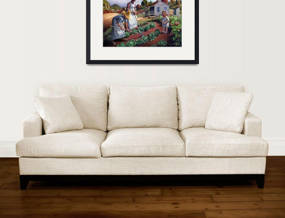 """Family Vegetable Garden Gardening Farm Landscape&quot  (2008) by walt-curlee"