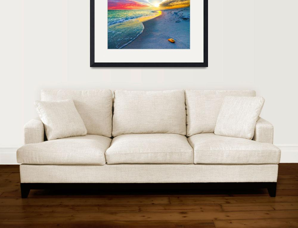 """Sunset Wall Art Beach Shell Landscape Print&quot  (2014) by eszra"