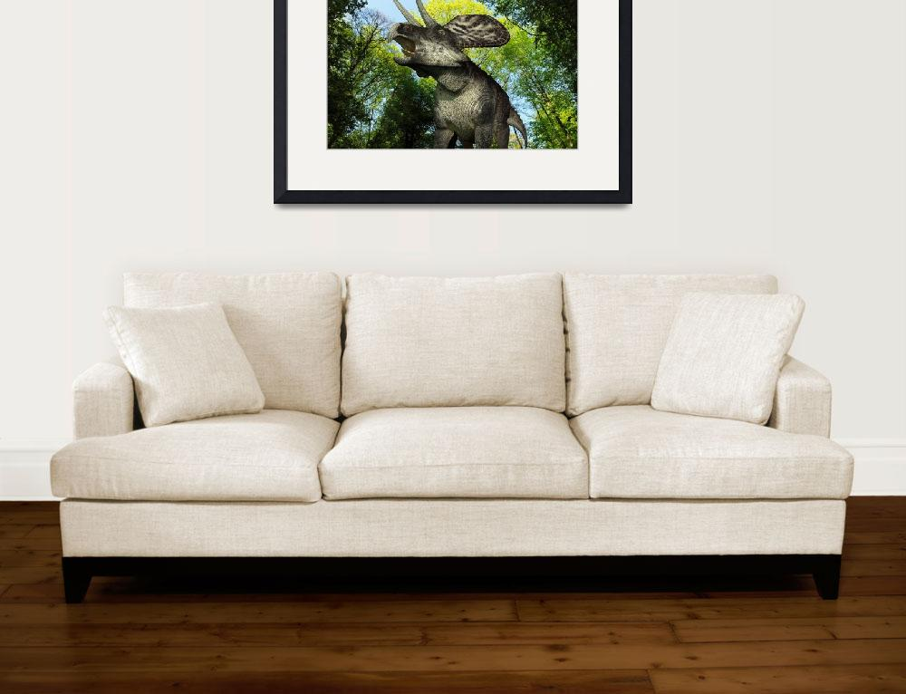 """""""A Zuniceratops wanders a Cretaceous forest""""  by stocktrekimages"""