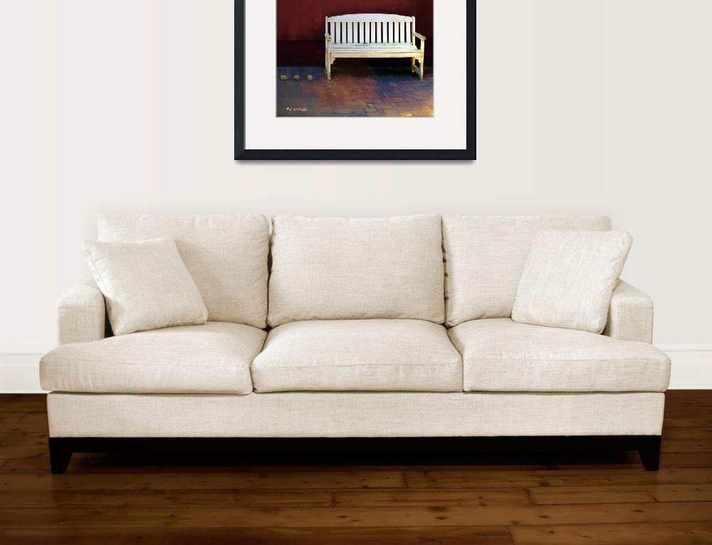 """""""Bench by the Barn&quot  (2016) by RCdeWinter"""
