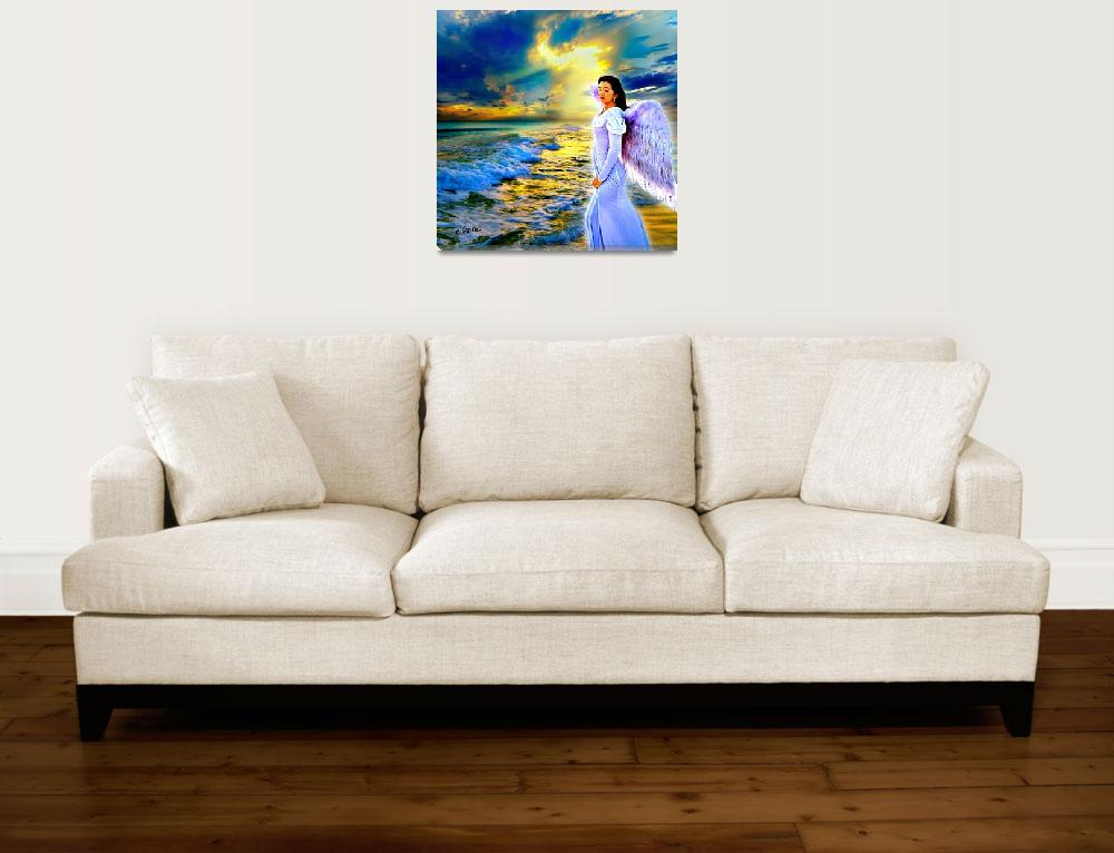 """blue heavenly sunset gold sunray female sea angel&quot  (2014) by eszra"