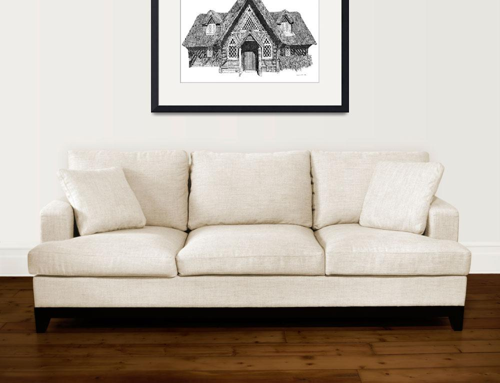 """""""Stipple Pen and Ink Irish Cottage&quot  (1996) by DulceDiane"""