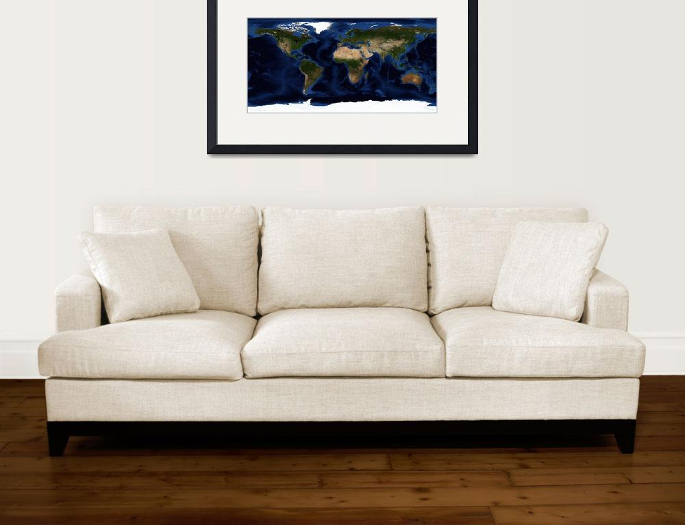 """""""Topographic & bathymetric shading of full earth.&quot  by stocktrekimages"""
