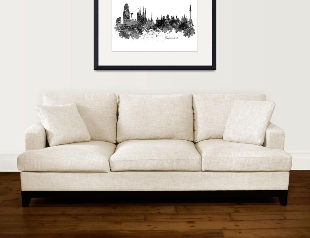 """""""Barcelona Black and White Watercolor Skyline""""  (2016) by MarianVoicu"""