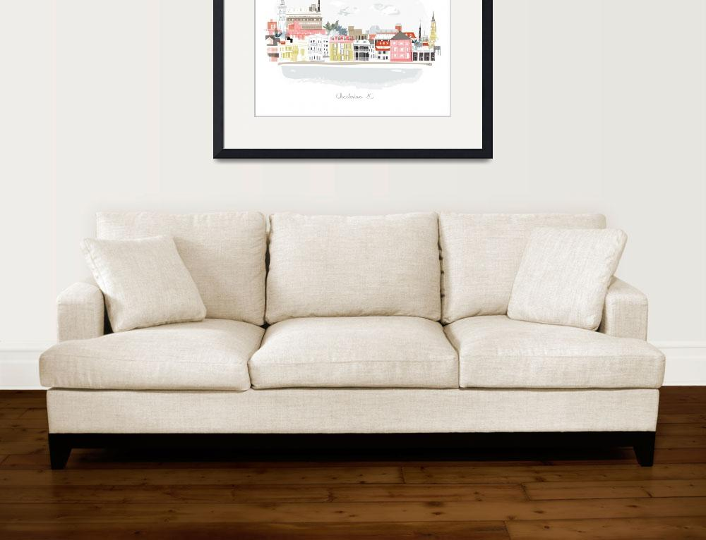 """""""Charleston Modern Cityscape Illustration&quot  by AlbieDesigns"""