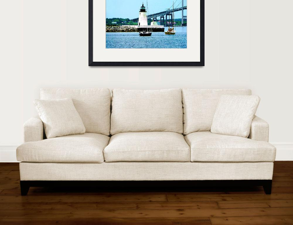 """Rhode Island - Lighthouse Bridge And Boats Newport&quot  by susansartgallery"