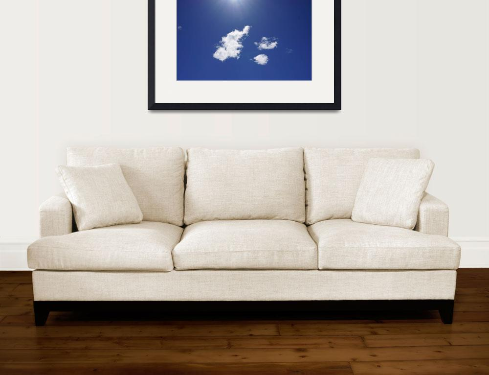 """""""Blue Sky Fluffy White Clouds Art Sun Rays&quot  (2014) by BasleeTroutman"""