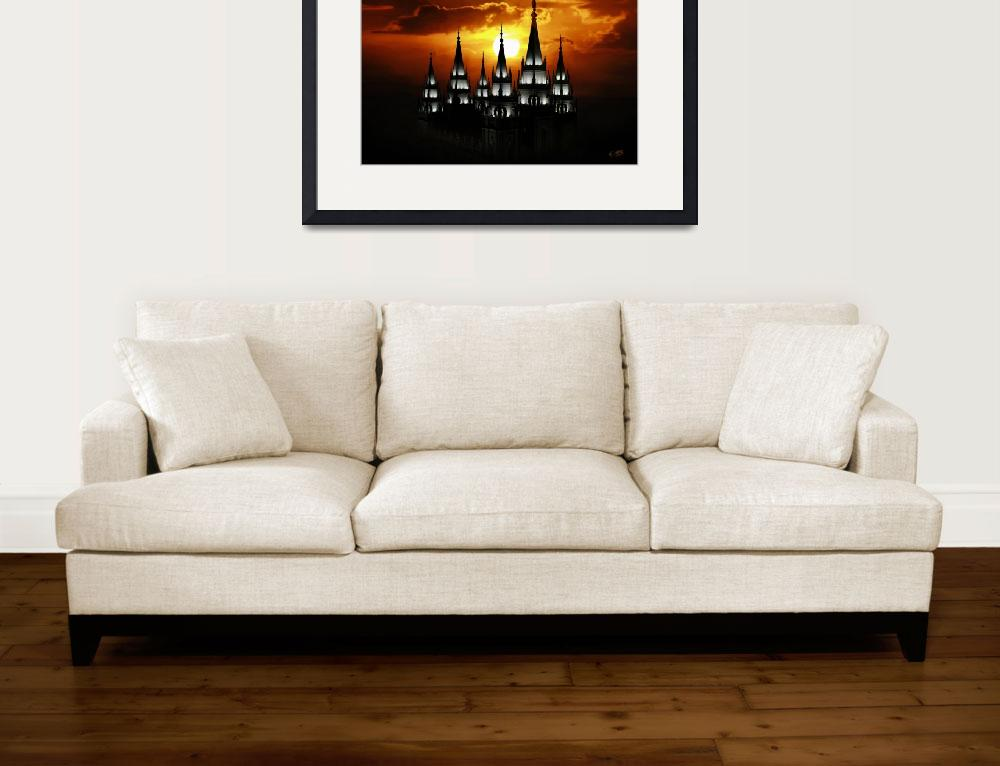 """""""20x30 Salt Lake Temple Sunset Spires&quot  (2009) by lightvoyages"""