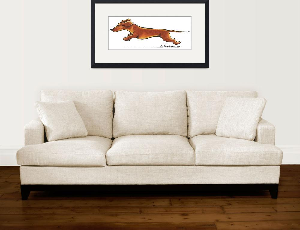 """""""Dachshund On The Run&quot  (2010) by OffLeashArt"""