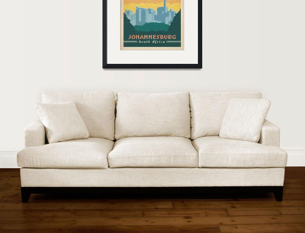 """""""Johannesburg, South Africa - Retro Travel Poster&quot  by artlicensing"""