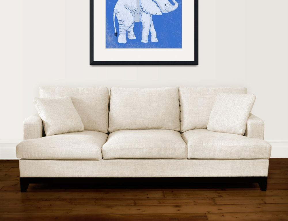 """""""Baby Elephant in Blue&quot  (2014) by Littlepig"""