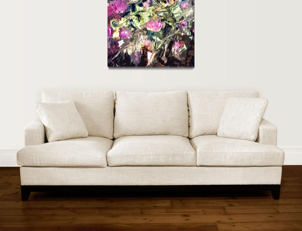 """""""Abstract Thistles Square Modern Floral Art""""  (2012) by GinetteCallaway"""