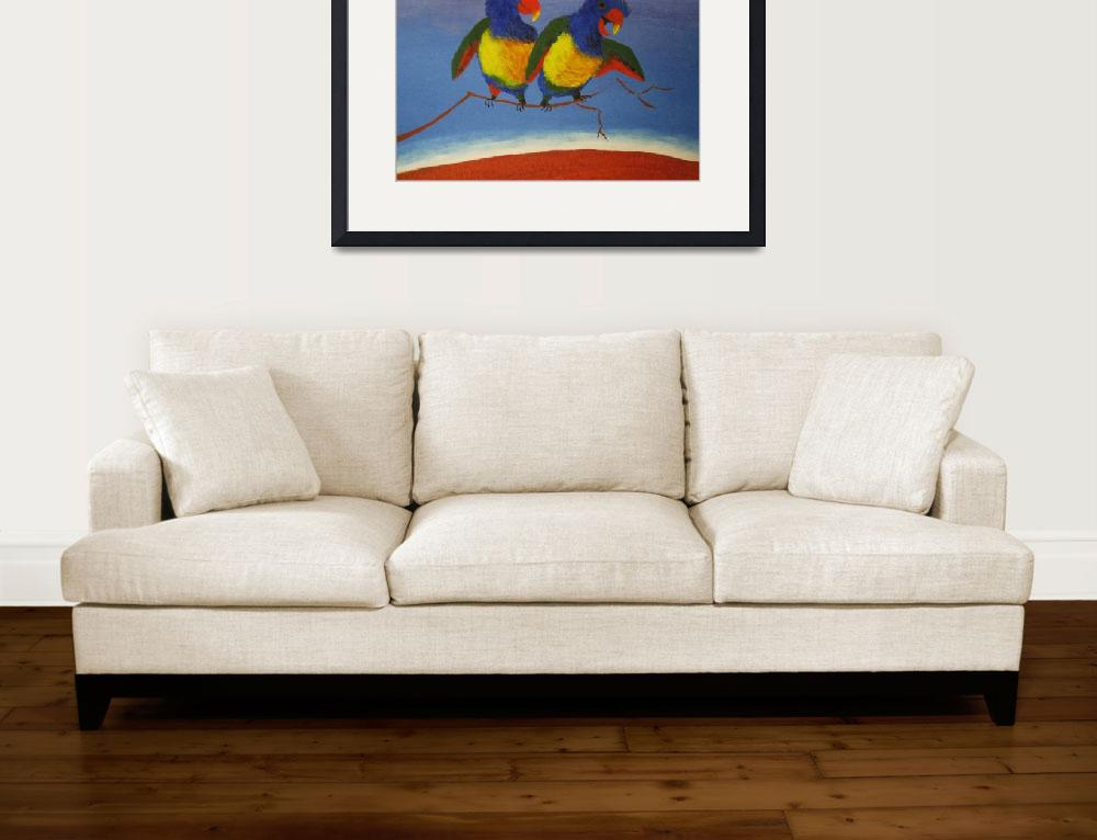 """THE RAUCOUS RAINBOW LORIKEET (AUSTRALIA)&quot  (2010) by RoseLangfordPrints"