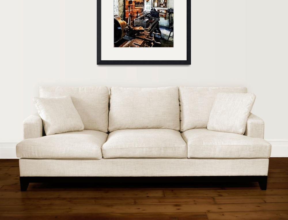 """""""Small Lathe in Machine Shop&quot  by susansartgallery"""
