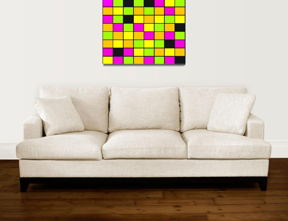 """""""Brightly Neon Colored Squares Pattern""""  (2015) by ValeriesGallery"""