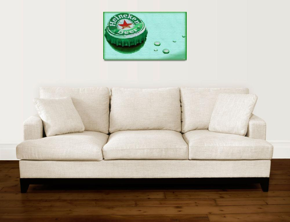 """Heineken Cap Green""  (2015) by RubinoFineArt"