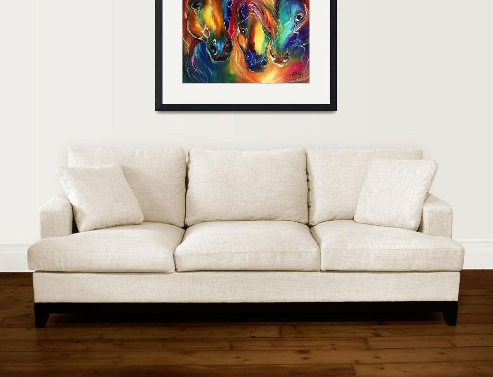 """""""COLOR MY WORLD WITH HORSES""""  (2014) by MBaldwinFineArt2006"""