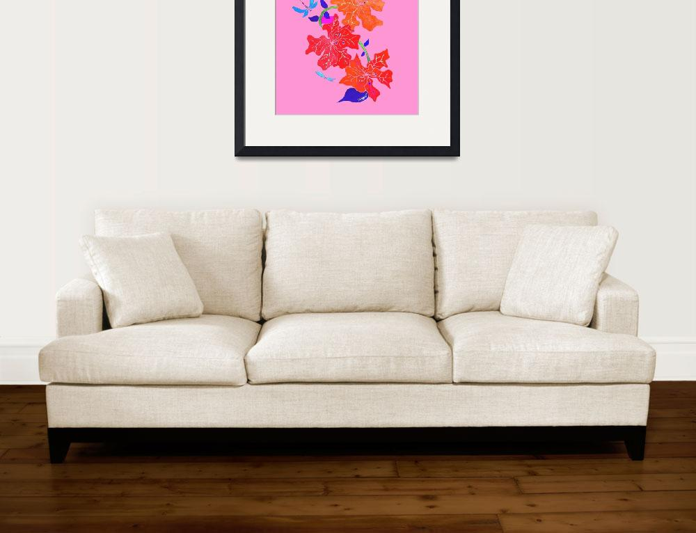 """""""HIBISCUS AND DRAGONFLIES-pink backround&quot  (2017) by mrmizener"""