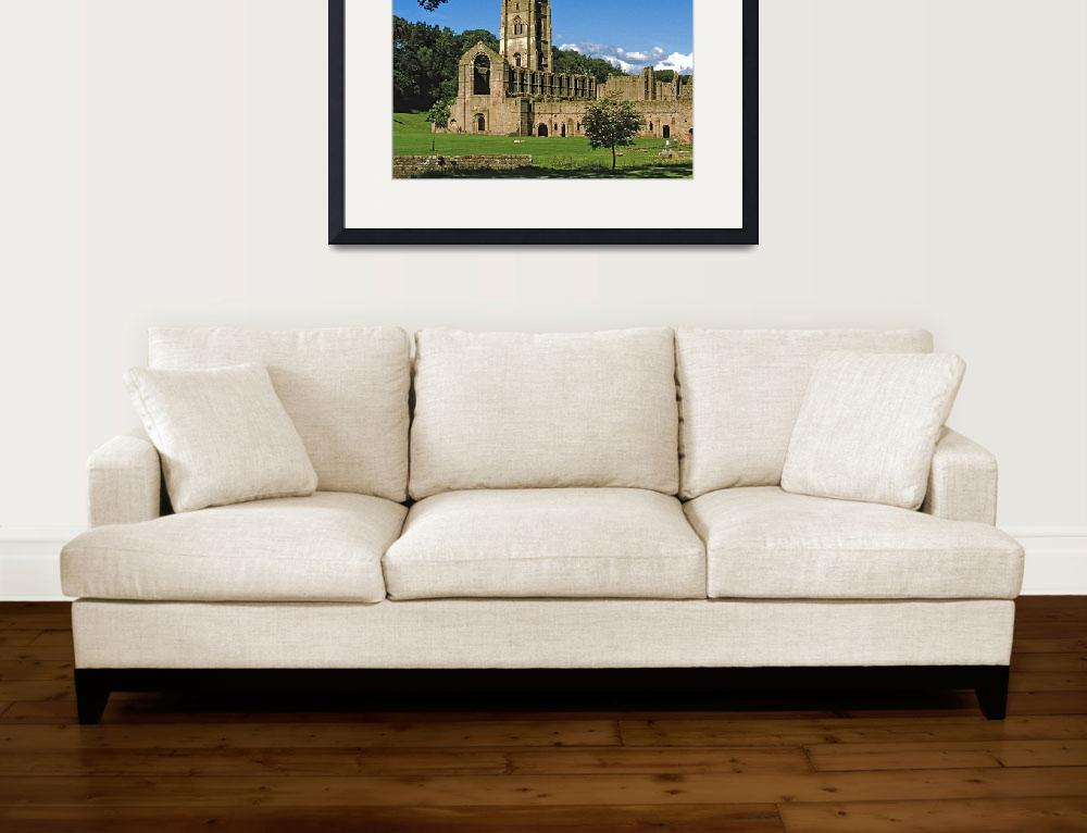"""Fountains Abbey in Summer 10""  (1990) by PriscillaTurner"