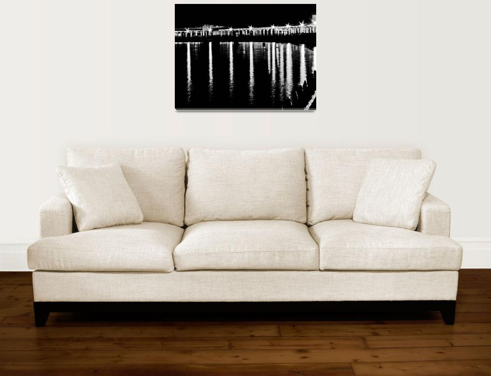 """""""Light Beams Reflected on the beach BW Wall Art&quot  (2017) by PhotographsByCarolFAustin"""