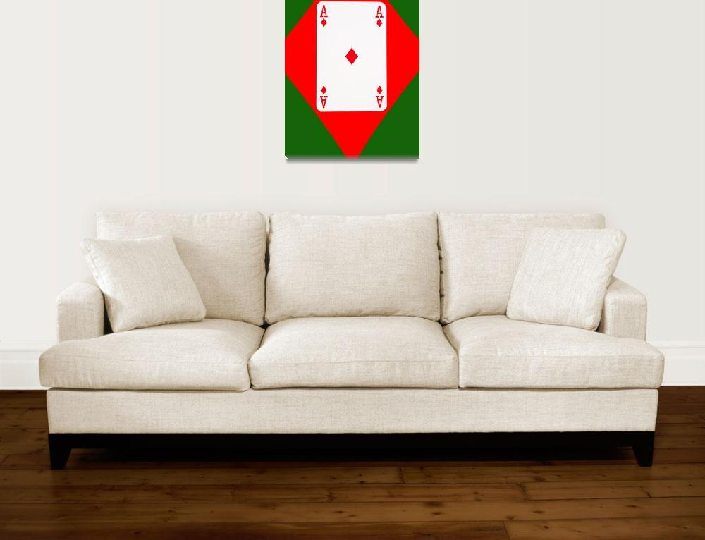 """Playing Cards Ace of Diamonds on Green Background""  (2012) by NatalieKinnear"