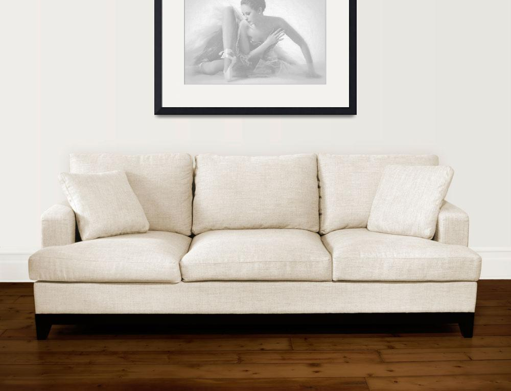"""Ballet Dancer Sitting White on White&quot  (2014) by RubinoFineArt"