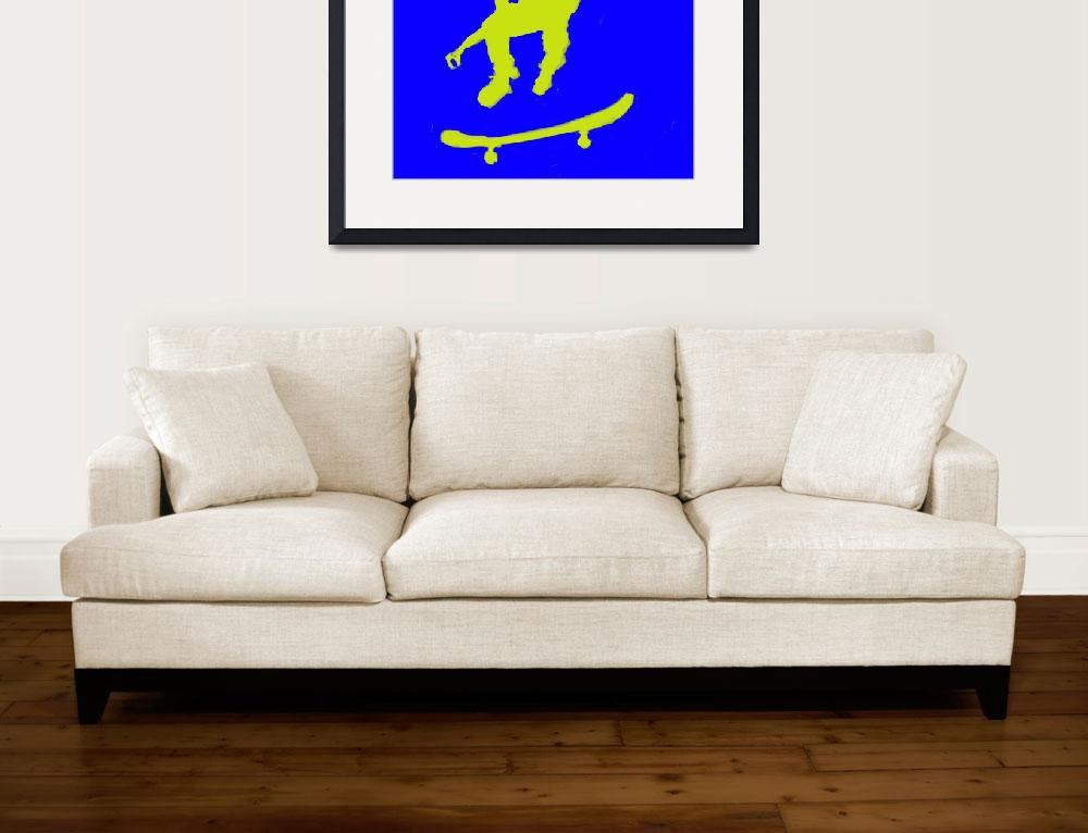 """""""Skateboarder 3 . blue yellow (c)&quot  (2014) by edmarion"""