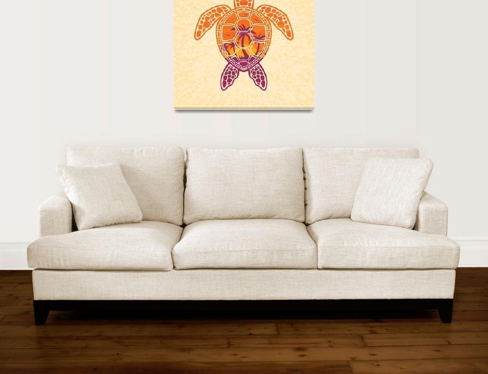"""Tropical Sunset Sea Turtle Design""  (2018) by schwegel"