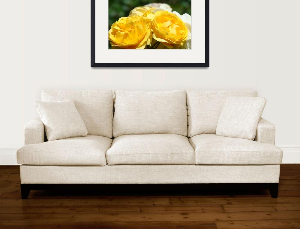 """""""Yellow Roses art print Floral Rose Flowers Baslee&quot  (2010) by BasleeTroutman"""