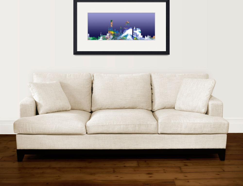 """Decorative Skyline Abstract  Houston T1115B&quot  (2015) by MasArtStudio"