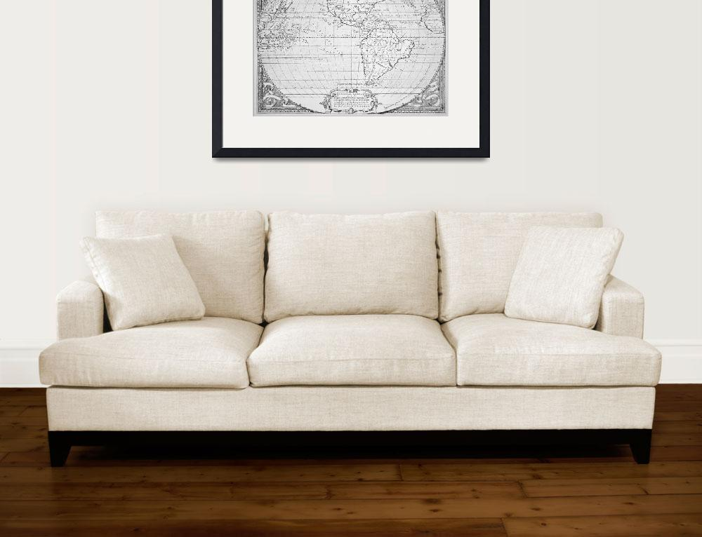 """""""Map of the New World 1587 (litho)&quot  by fineartmasters"""
