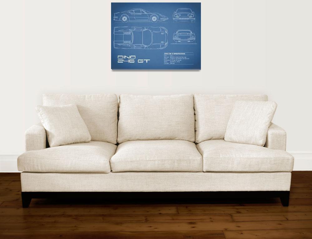 """Ferrari Dino 206 Blueprint&quot  (2015) by mark-rogan"