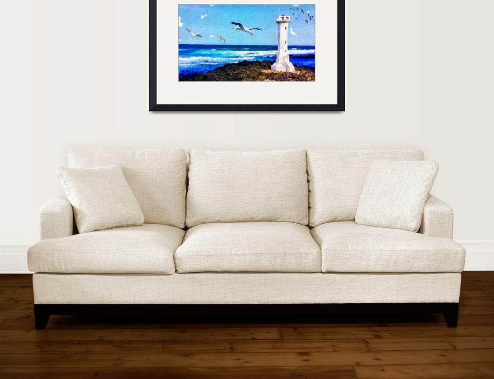 """""""White Lighthouse with Gulls&quot  by JosephWallArt"""
