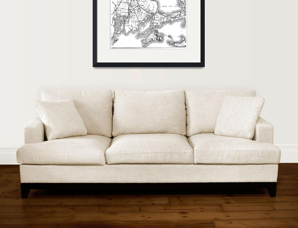 """Vintage Railroad Map of Cape Cod (1875)&quot  by Alleycatshirts"