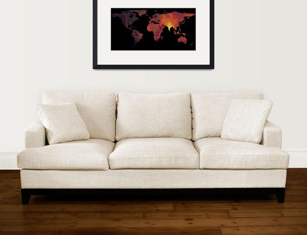 """World Map Silhouette - The World is On Fire&quot  by Alleycatshirts"