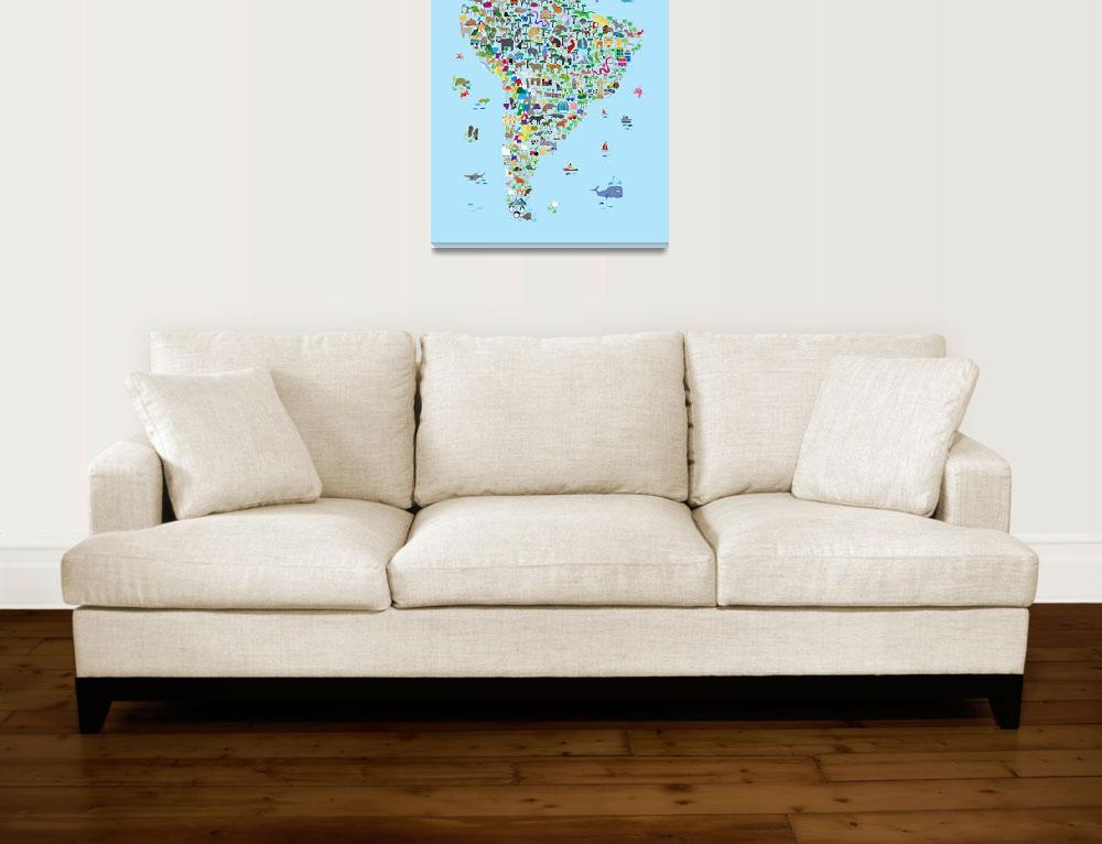 """Animal Map of South America for children and kids&quot  (2018) by ModernArtPrints"