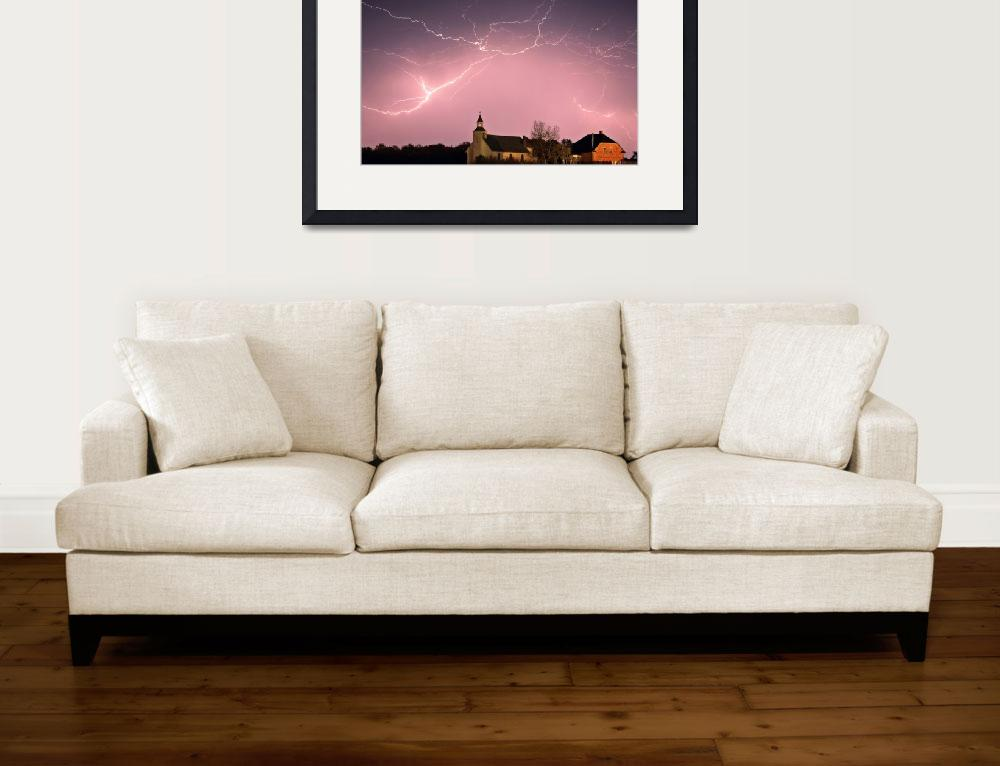 """""""Lightning bolts over Spring Valley country church&quot  (2009) by pictureguy"""