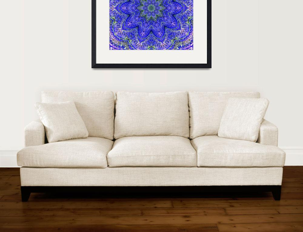 """Blue and Purple Lavender Floral Kaleidoscope&quot  (2010) by PhotographsByCarolFAustin"