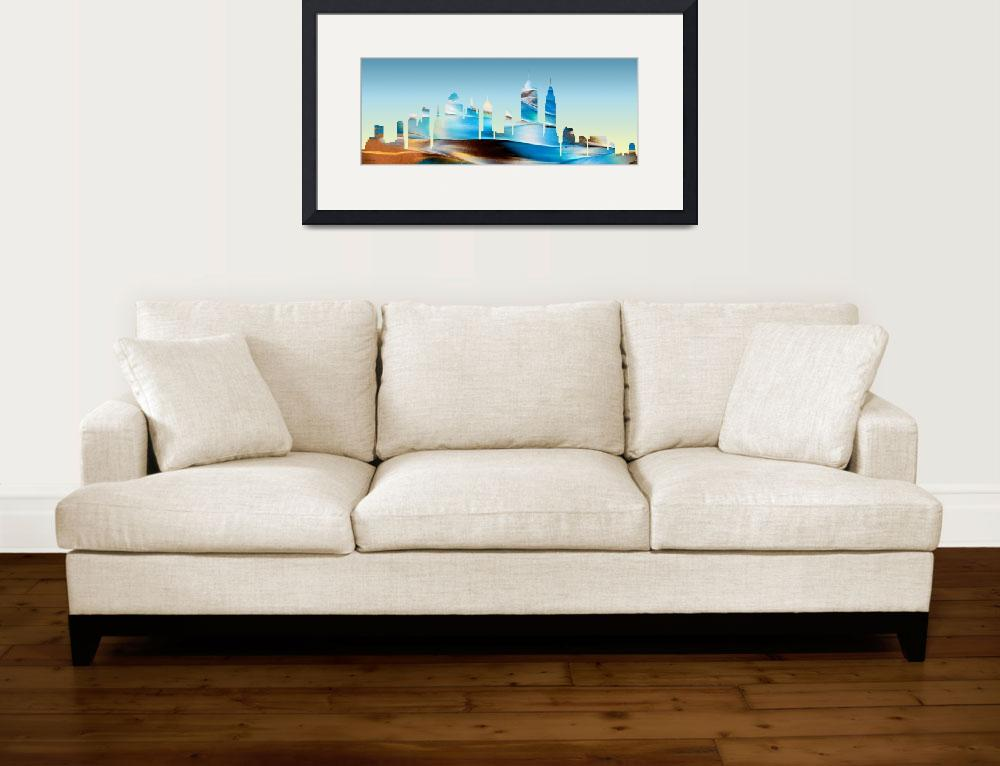"""Decorative Skyline Abstract New York P1015B""  (2015) by MasArtStudio"